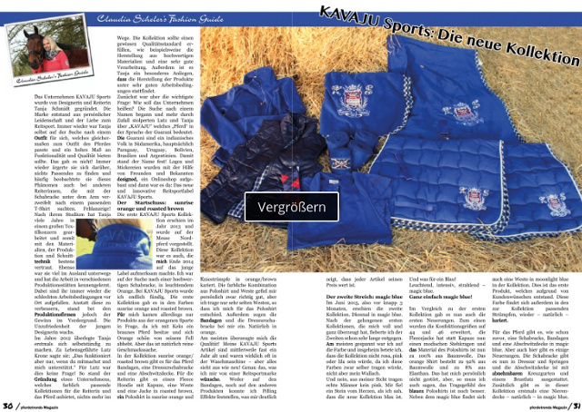 Vorschau zum KAVAJU-Sports Artikel im Pferdetrends-Magazin